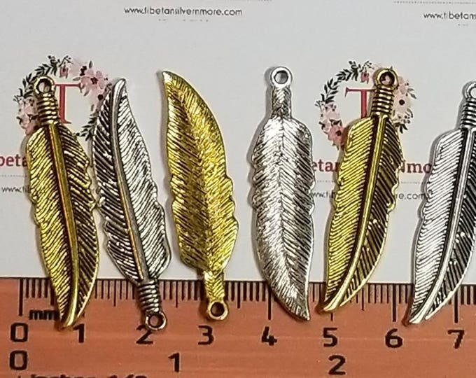 10 pcs per pack 41x9mm One side Feather Charm Antique Gold or Silver Finish Lead Free Pewter