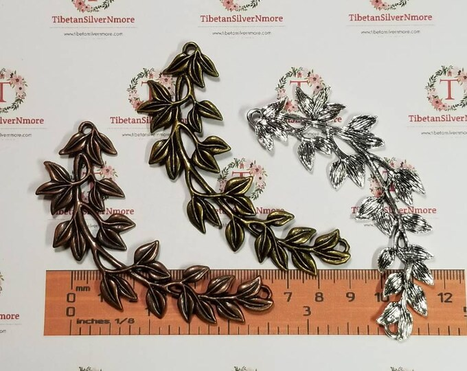 2 pcs per pack 82x26mm Vine Feston link Necklace Antique Silver, Copper or Bronze Finish Lead free Pewter
