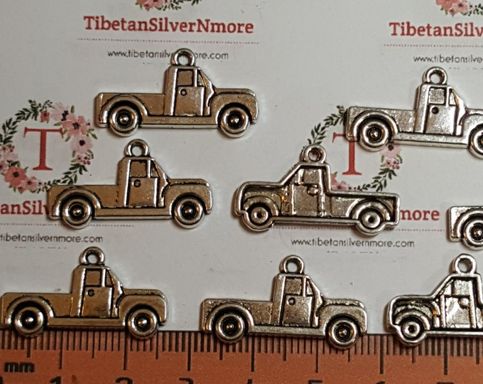 8 pcs per pack 26x13mm One side Truck charm Antique Silver Finish Lead free Pewter