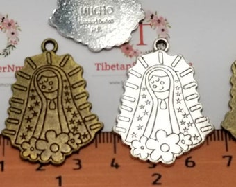 5 pcs Virgencita te Imploro Little Virgin Mary Charm Pendant 30x26mm Antique Bronze or Gold or Silver Lead Free Pewter.SLR0325.