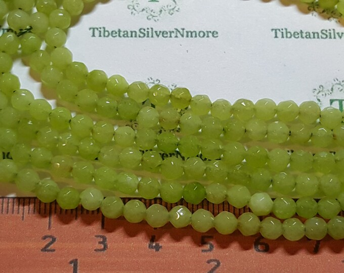 1 strand approx. 88 beads of 3.5 - 4mm Faceted Round Lime Green Agate