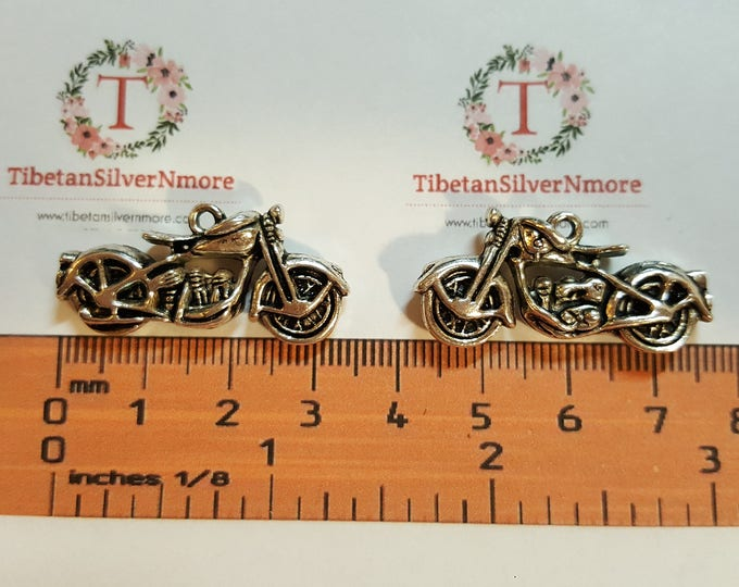 2 pcs per pack 34x15x6mm 3D Motocycle Charm Antique Silver Finish Lead Free Pewter