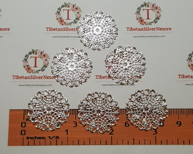 20 pcs per pack of 24mm medium Filigree Silver Plated Brass Base metal