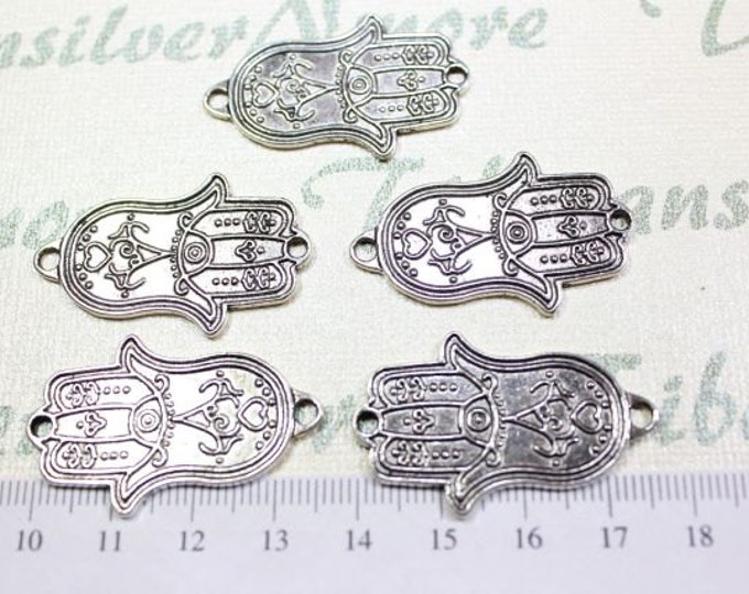 6 pcs per pack 36x20mm Print Textured Hand of Fatima or Hamsa Link Antique Silver Finish Lead Free Pewter