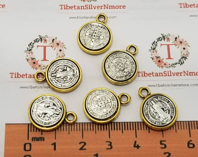 6 pcs per pack 14mm Reversible San Benito Coin Charm Antique Silver with Gold trim Lead free Pewter