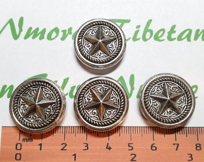 4 pcs per pack 24mm Texas Star Coin Beads 11x6mm slide left to right Antique Silver Finish Lead Free Pewter