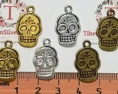 16 pcs per pack 19x12mm Printed Sugar Skull Reversible Charm in color to choose Lead free Pewter.