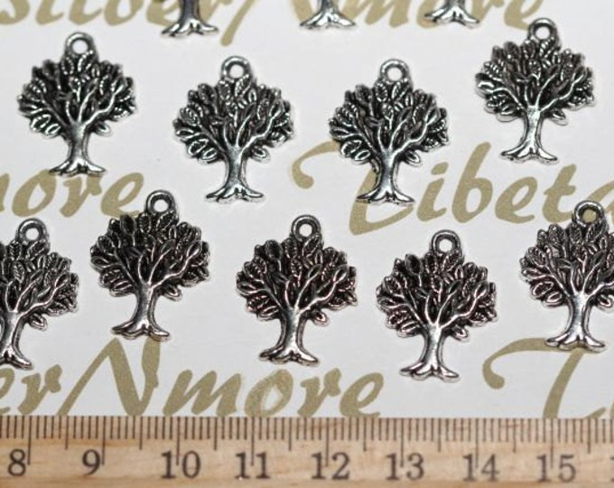 12 pcs per pack 18mm Tree of Life Charms Antique Silver Lead free Pewter.