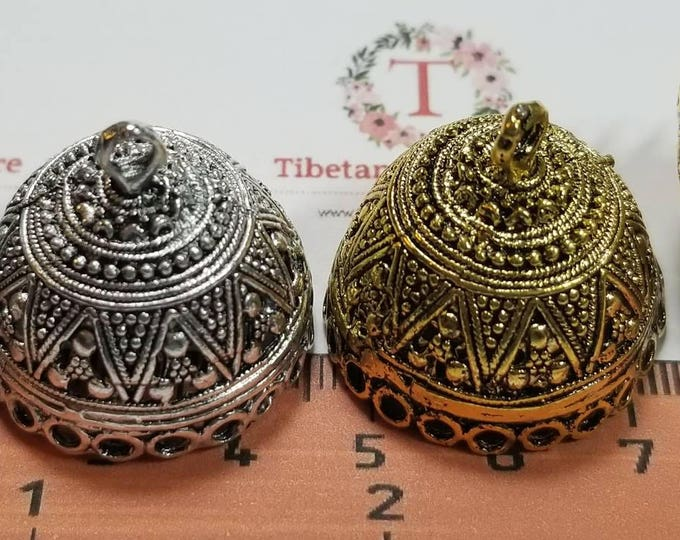 2 pcs per pack 27x26mm outside 16mm depth 25x24mm opening Indian style Filigree Tassel Findings Antique Silver or Gold Lead Free Pewter