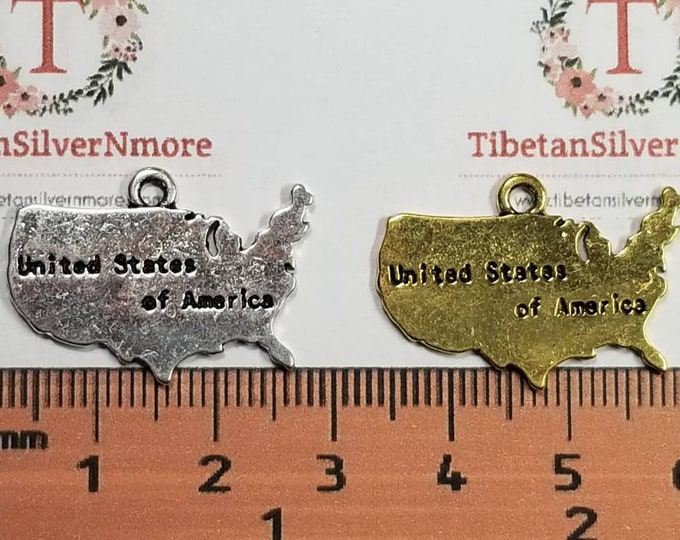 6 pieces per pack 26x19mm USA Map Charm Antique Silver or Gold Finish Lead Free Pewter