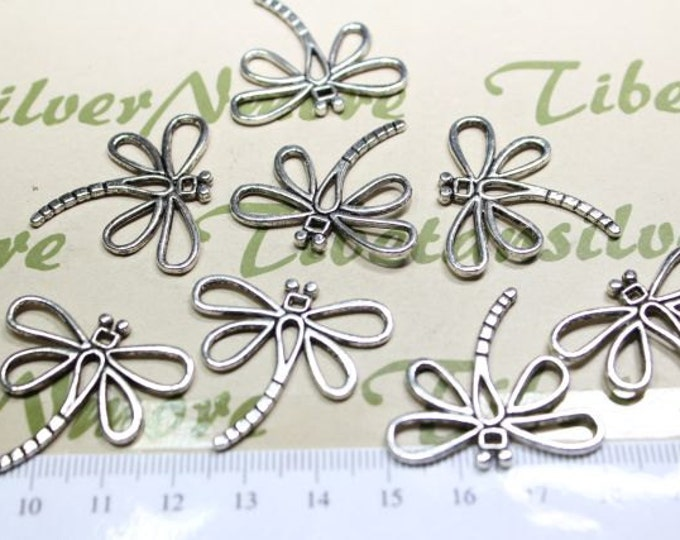 12 pcs per pack 30mm Dragonfly Charm Antique Silver Finish Lead free Pewter