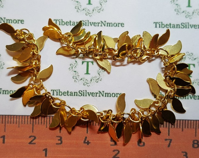 1 strand or 5.5 inches length per pack Staggered leaves Chain Gold-plated on Copper Base metal