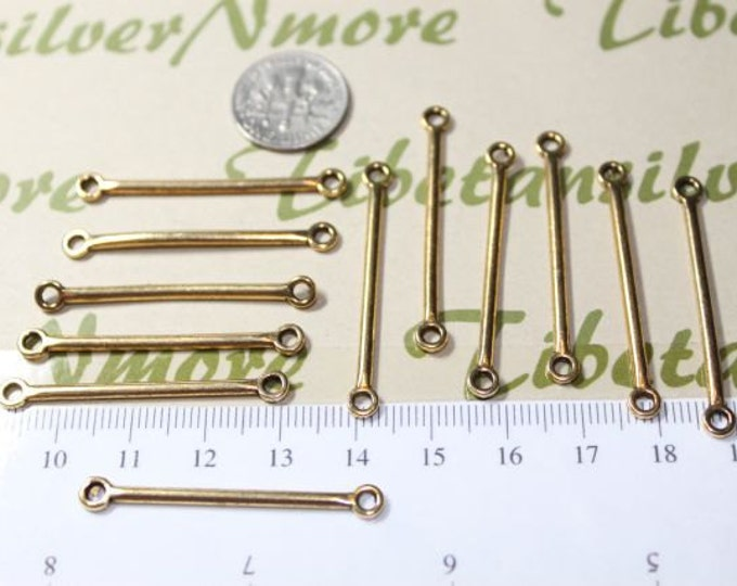 24 pcs per pack 39mm Long Stick Link with 2 loops antique Silver or Gold Finish Lead Free Pewter