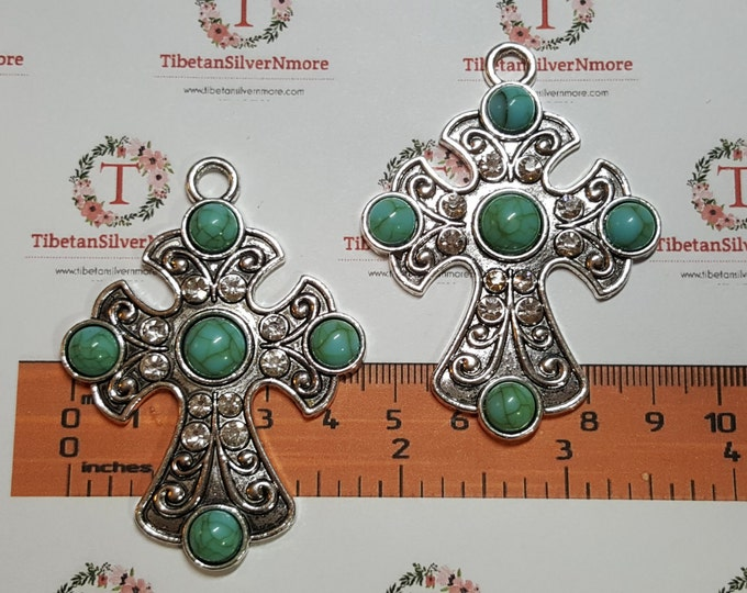 2 pcs per pack 65x47mm Rhinestones Cross Pendant with Turquoise Antique Silver Lead Free Pewter