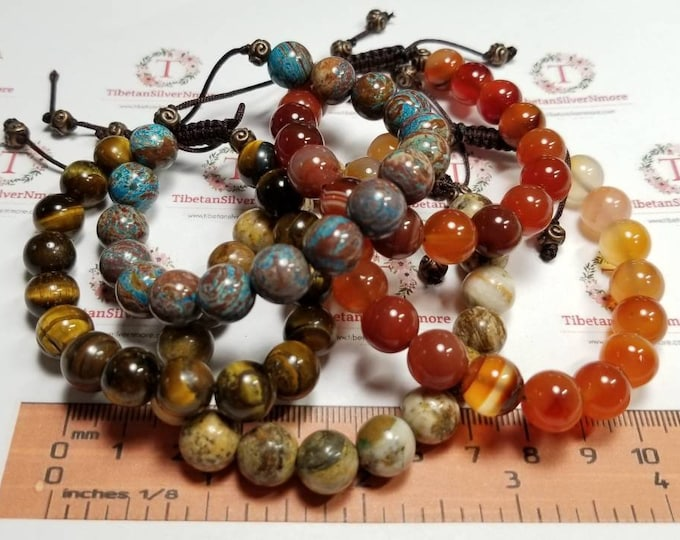 1 piece 7.5 - 8 inches Beaded Bracelet with macrame clasp hand made 10mm Semi Precious stones in stones to choose.