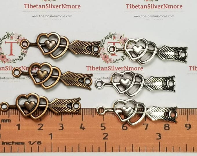 8 pcs per pack 39x12mm curved Arrow Link with double heart Antique Silver or Copper Lead free Pewter.
