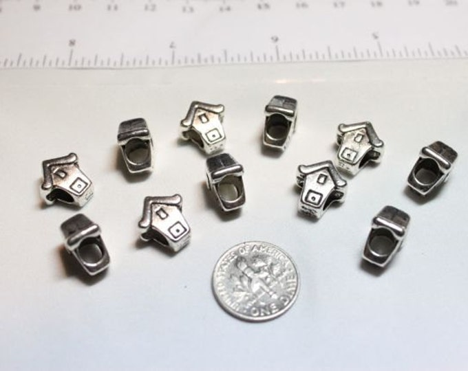 12 pcs per pack 12x10mm Birds House Large Hole European Charms Beads Antique Silver Lead Free Pewter