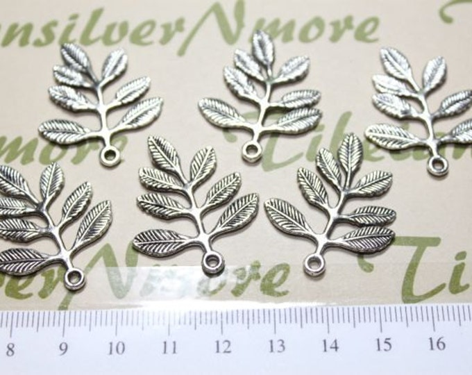 12 pcs per pack 32x28mm Antique Silver Finish Leaves Lead Free Pewter.