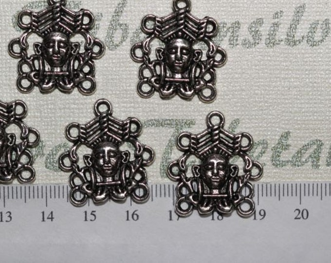 10 pcs per pack of 20mm Mayan Glyph Face Connector Antique Silver Finish Lead Free Pewter