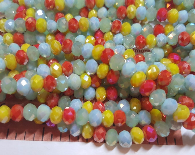 1 strand of 6x4mm Faceted Rondelle Multicolor Green Yellow Orange Opaque Chinese Crystal