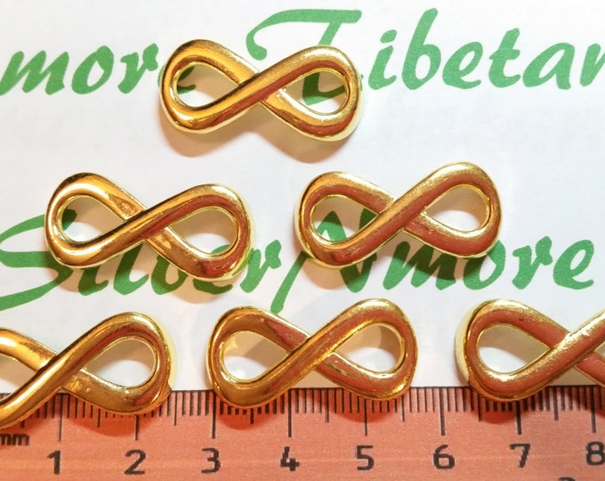 6 pcs per pack 28x13mm Medium Infinity Link Yellow Gold Finish Lead free Pewter