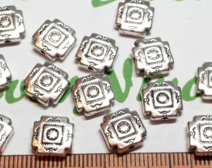 12 pcs a pack 8mm Reversible Solid Native American print Square Cross Bead in Antique Silver Lead free Pewter