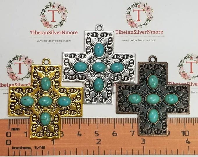 2 pcs per pack 43mm Square Cross Pendant with Turquoise Antique Gold, Copper or Silver Lead Free Pewter