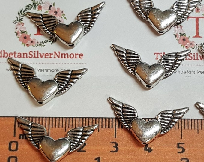 15 pcs per pack 26x8mm Heart Wing Beads Antique Silver Finish Lead Free Pewter