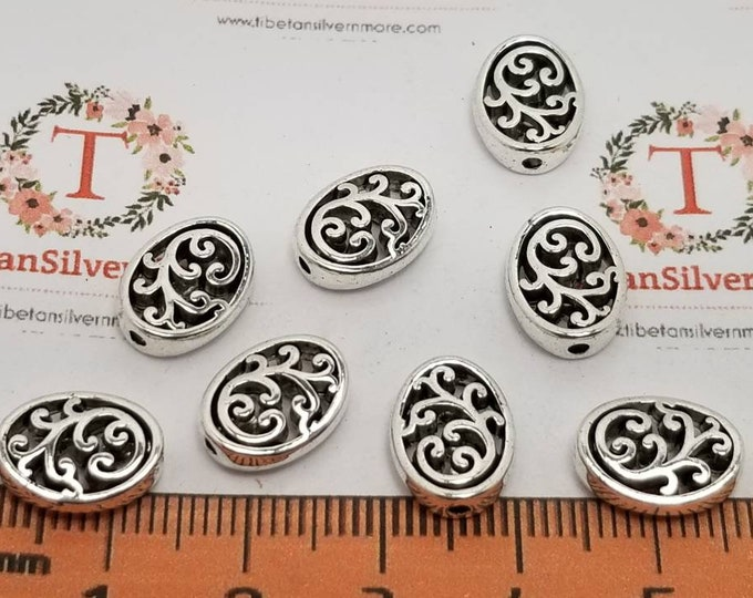20 pcs per pack 12x9x3.5mm reversible Filigree Oval beads Antique Silver Finish Lead Free Pewter
