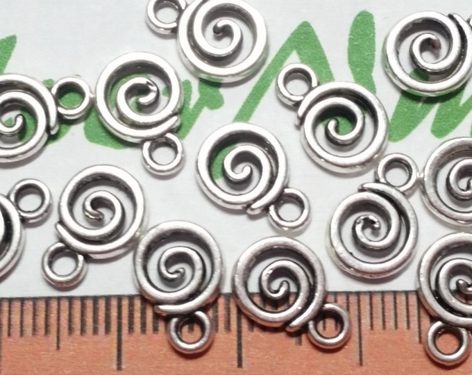 40 pcs per pack 11x8mm Swirl dangling charm Antique Silver Lead Free Pewter