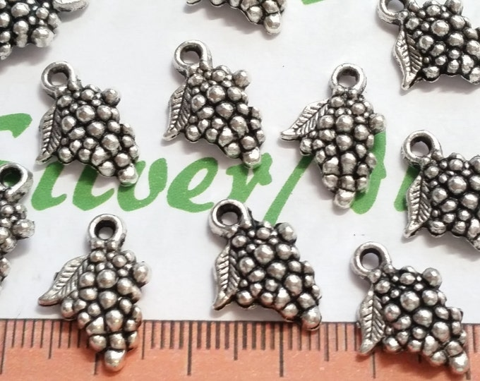 20 pcs per pack 17x12mm One side Grapes Charm Antique Silver Finish Lead free Pewter
