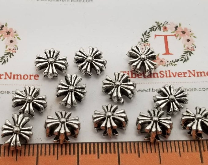 30 pcs per pack 7x5mm Corrugated Cross Beads 1.5mm double hole for 2 strands Antique Silver Lead Free Pewter