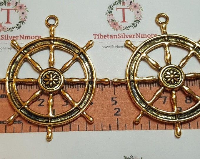 2 pcs per pack 53x48mm One side Boat Steering Wheel Charms Antique Gold Lead Free Pewter