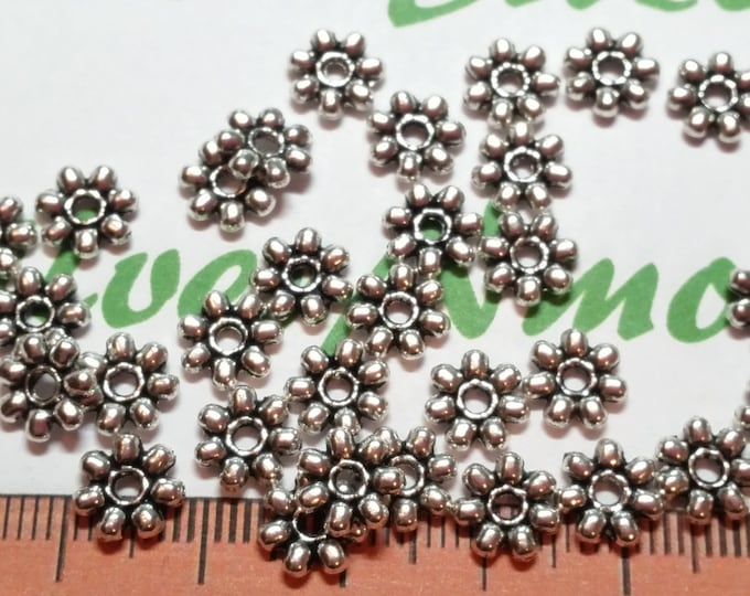 25 Gram per pack 7mm Bali Style Daisy Spacer Antique Silver Finish Lead Free Pewter
