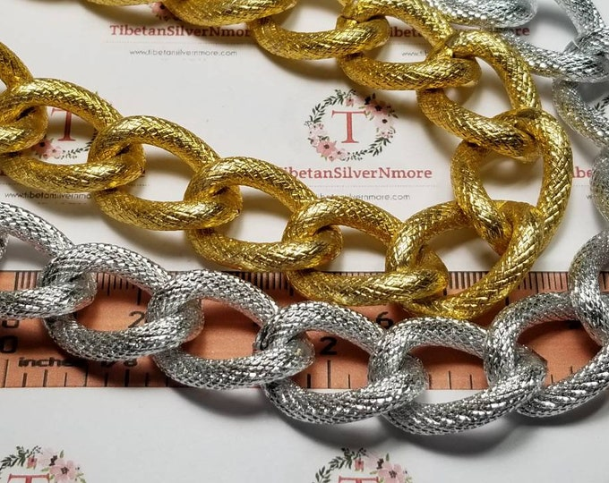 2 ft. or 24 inches of 28x20mm 5mm thickness Textured finish Silver or Gold Aluminum Chain