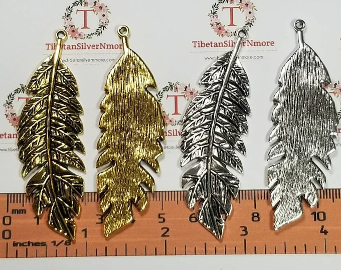 2 pcs per pack 71x22mm Antique Gold or Silver Large Fern leaf Lead Free Pewter.