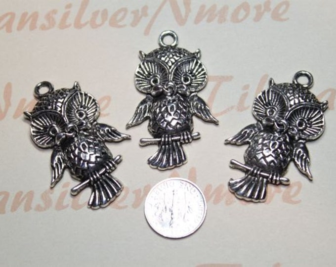 4 pcs Large Owl Pendant Antique Silver Lead free Pewter