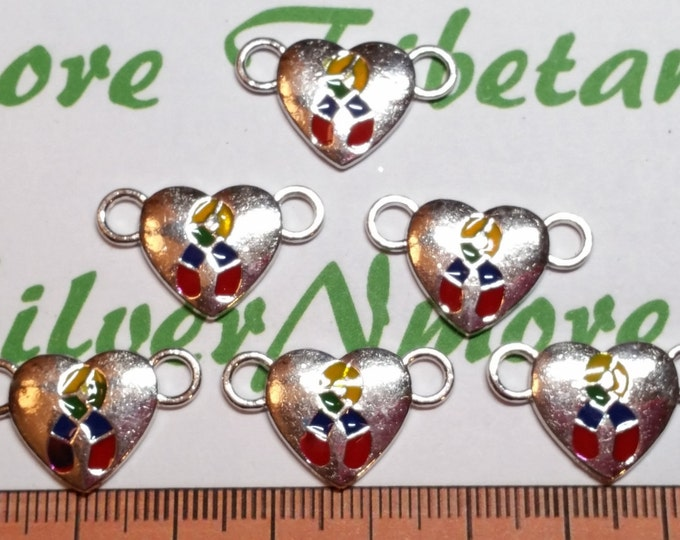 8 pcs per pack 25x14mm Enamel Colorful Puzzle Heart for Autism Awareness Link Antique Silver Finish Lead Free Pewter