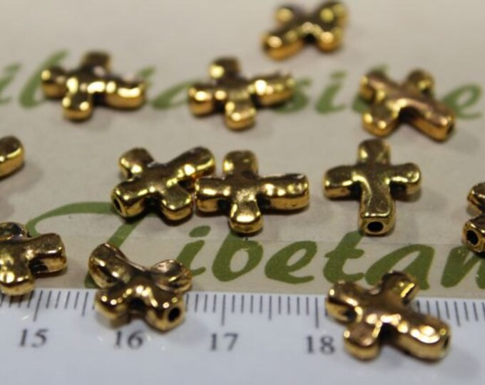 24 pcs per pack 13x11mm Reversible Cross Bead in Silver, Bronze or Gold Lead fre Pewter