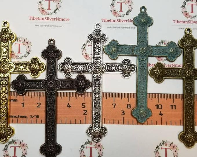 3 pcs per pack 80x50mm Print Stamp in color to choose Finish Lead Free Pewter Large Cross Pendant