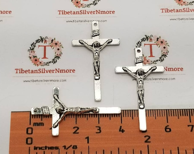 10 pcs per pack 40x20mm thin Crucifix Antique Silver Lead Free Pewter.