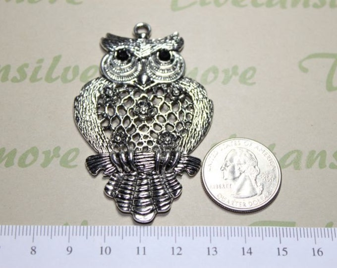 2 pcs per pack Large Filigree Owl Pendant 64mm tall 42mm wide Antique Silver Lead free Pewter