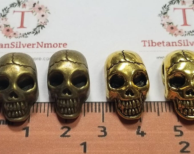 4 pcs per pack 20x11x9mm side to side drilled Flat back Oval Hole Beads Skull in antique Silver, Gold or Bronze Lead free Pewter.