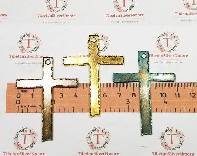 4 pieces a pack of 59x44mm paper cut  edge Cross Pendant in Antique Bronze or Bronze Patina Finish Lead Free Pewter