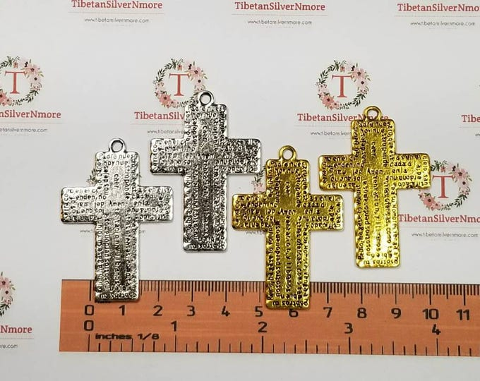 3 pcs per pack 45x33mm Reversible Padre Nuestro Cross Pendant Antique Silver Lead Free Pewter