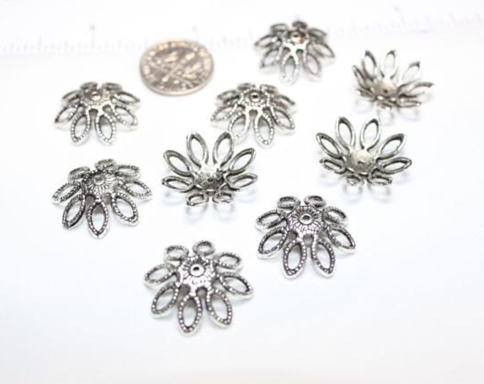20 pcs per pack 20mm 4mm deep Large Bead Caps Antique Silver Lead Free Pewter