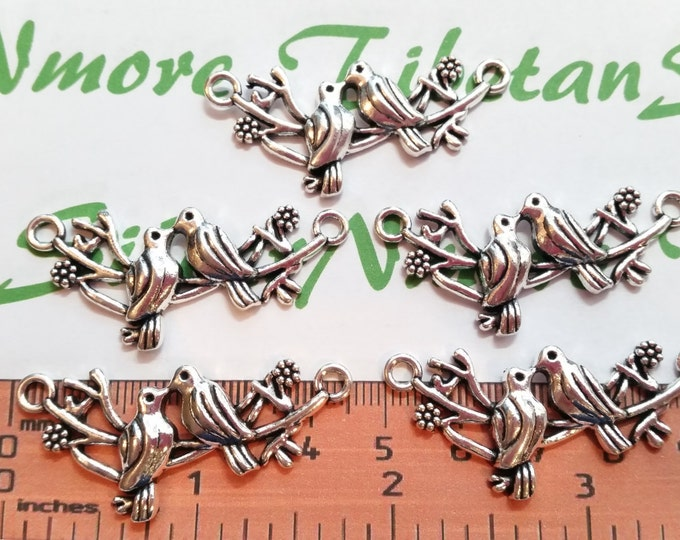 6 pcs per pack 44x16mm Bird in the branch Link Antique Silver Finish Lead Free Pewter