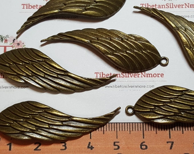 6 pcs per pack 52x15mm Solid Curve Wing Charms Antique Bronze Finish Lead free Pewter