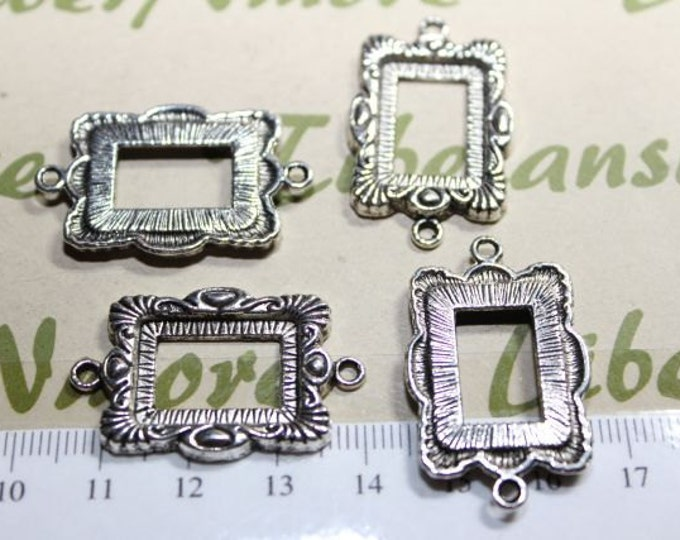 6 pcs per pack 20x28mm Rectangle Frame Filler Charm Antique Silver Finish Lead Free Pewter