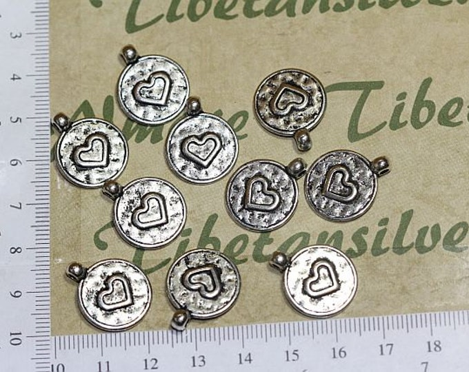12 pcs per pack of 17mm Small Reversible Heart Coin Pendant Antique Silver or Bronze Lead free Pewter